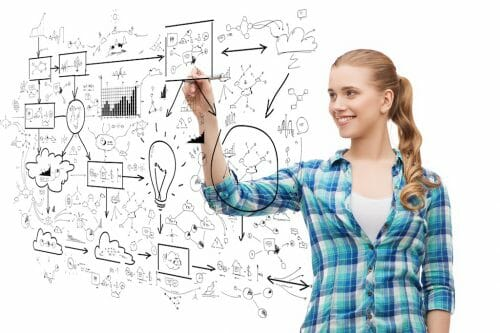 happiness and people concept - smiling young woman writing or drawing scheme on transparent screen over white background